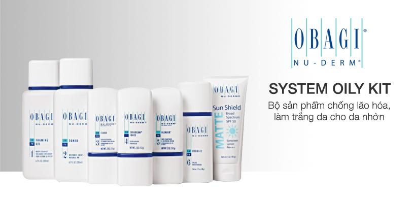 Bộ sản phẩm chống lão hóa, làm trắng da cho da nhờn Obagi Nu Derm System Oily Kit