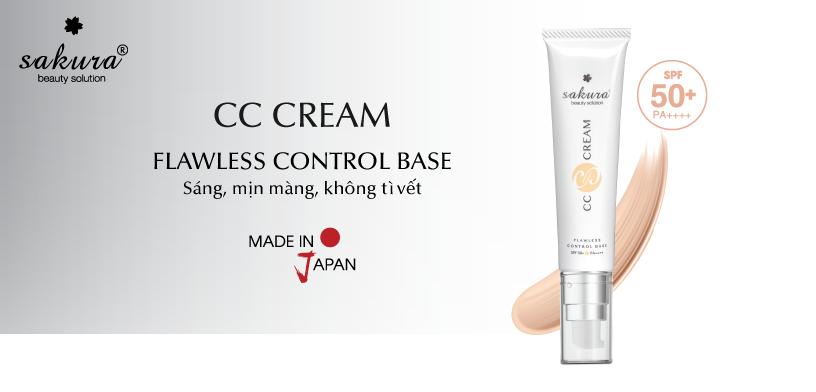 kem trang điểm dưỡng trắng da chống nắng Sakura CC Cream Flawless Control Base