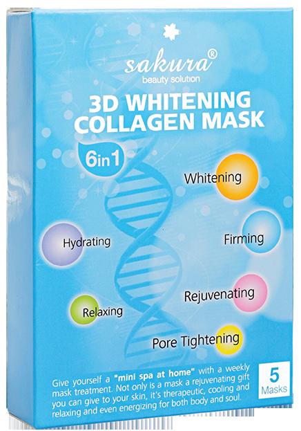 Mặt nạ làm trắng da Sakura 3D Whitening Collagen Mask (Hộp 5 miếng)