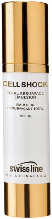Nhũ tương chống lão hóa, bảo vệ da Swissline Cell Shock Total Resurface Emulsion SPF 15