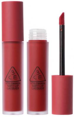 Son kem lì 3CE Soft Lip Lacquer Perk Up – Đỏ Hồng Trầm