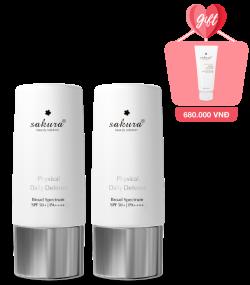 Mua 2 Nhũ Tương Chống Nắng Sakura Physical Daily Defense SPF 50+ PA ++++ 60g - Tặng 1 SRM Sakura Whitening Facial Cleanser