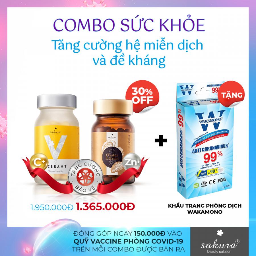 Combo Sức Khỏe, Tăng Cường Đề Kháng Sakura - Gây Quỹ Vaccine Phòng Covid-19