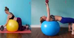 4 bài tập tạ tay trên bóng giúp eo thon, ngực nở căng tròn