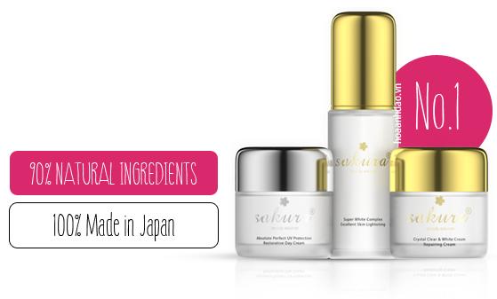 Bộ sản phẩm dưỡng trắng phục hồi làm khỏe da Sakura Whitening