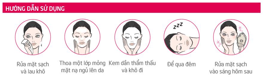 Hướng dẫn sử dụng  Mặt nạ ngủ làm dịu và trẻ hoá làn da Sakura Ultimate Sleeping Cream