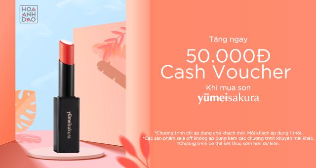 Tặng cash voucher 50.000đ cho khách lần đầu mua son Yumei