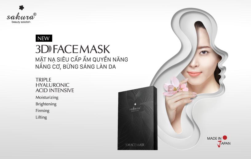 Mặt nạ nâng cơ, siêu cấp ẩm và làm sáng da quyền năng Sakura 3D Face Mask
