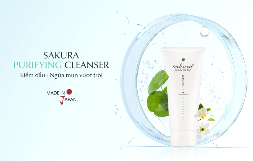 Sữa rửa mặt dành cho da dầu, mụn Sakura Purifying Cleanser